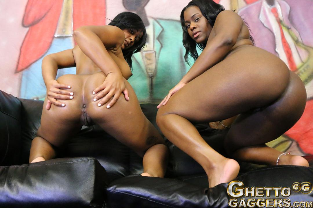 2 bitches getting covered in cum after long group bang 4